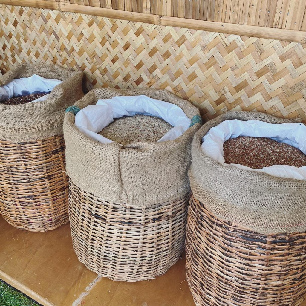 Different kinds of rice are also available at the Living Library