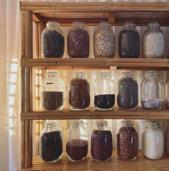 The Living Library's display of native dry foods